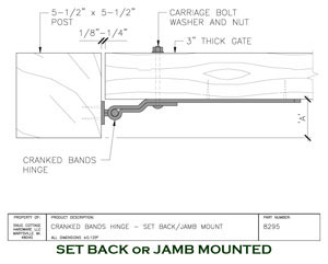 Cranked Bands with Pins Setback or Jamb Mounted diagram